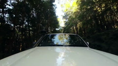 White 4x4 driving off road through national park forest Stock Footage