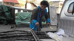 Sales of sugarcane hawker Stock Footage