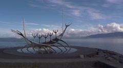 Iceland, Reykjavík, The Sun Voyager Sculpture Stock Footage