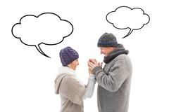 Composite image of happy mature couple in winter clothes embracing Stock Illustration