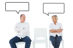 Composite image of upset couple not talking to each other after fight Stock Illustration