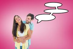 Composite image of happy casual couple smiling and hugging - stock illustration
