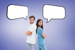 Composite image of upset couple not talking to each other after fight - stock illustration