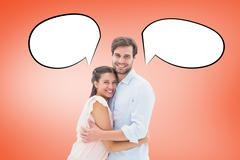 Composite image of attractive young couple hugging and smiling at camera Stock Illustration