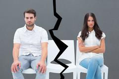 Stock Illustration of Composite image of angry couple not talking after argument