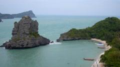 Sea Scene Rock Island with Paradise Beach Stock Footage