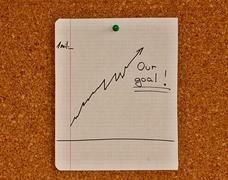 Notice board with graph sketch Stock Photos