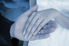 Stock Photo of Composite image of cropped image of newly wed couple holding hands