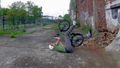 BMX Crash - Fakie Double peg Wall-Extreme Sports - stock footage