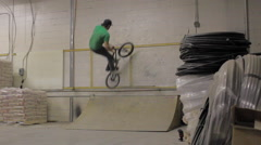 BMX Trick -double peg stall wall - Extreme Sports - stock footage