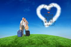 Stock Illustration of Composite image of happy couple ready to go on holiday