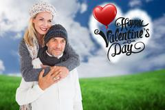 Composite image of happy couple in winter fashion embracing Stock Illustration
