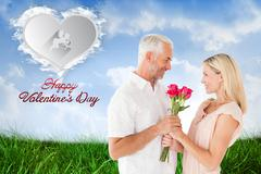 Composite image of affectionate man offering his partner roses Stock Illustration