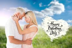 Composite image of affectionate couple standing and hugging Stock Illustration