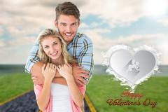 Composite image of attractive young couple smiling at camera - stock illustration