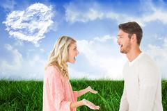 Composite image of attractive couple talking about something shocking Stock Illustration