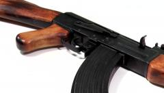 AK 47 Kalashnikov 1947, beauty-shot close-up Stock Footage