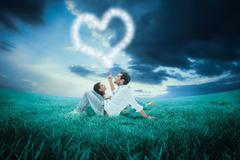 Composite image of attractive young couple lying down - stock illustration