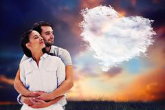 Composite image of cute couple embracing with eyes closed Stock Illustration
