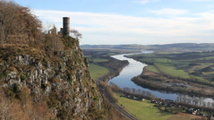 Folly on Kinnoull Hill and River Tay Scotland Stock Footage