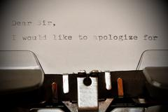 Text Dear Sir typed on old typewriter - stock photo