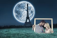Composite image of attractive young couple holding picture frame Stock Illustration