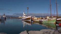 Iceland, Still Waters of Husavik Harbor Stock Footage