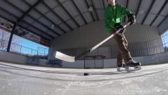 Cool hockey deke up close Stock Footage