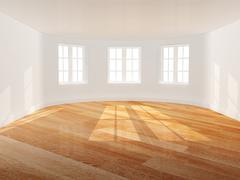Empty room with bay window Stock Photos
