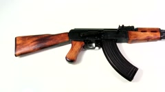 AK 47 Kalashnikov 1947, beauty-shot on white background Stock Footage