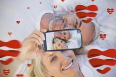 Couple taking Valentines selfie Stock Illustration