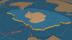 Antarctic tectonic plate extruded. Bumps. Enhanced version Stock Footage