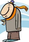 man look at watch cartoon - stock illustration