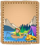 Parchment with fisherman  - stock illustration