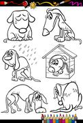 sad dogs group cartoon coloring book - stock illustration