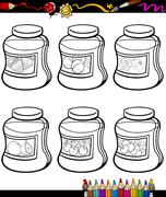 jams in jars set cartoon coloring book - stock illustration