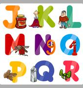 Education Cartoon Alphabet Letters for Kids Stock Illustration