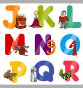 Education Cartoon Alphabet Letters for Kids Stock Illustration