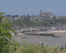 154CANCALE, FRANCE -  skyline fishing village, fishermen cottages at waterfront Stock Footage