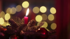 Close up of red candle at Christmas Stock Footage