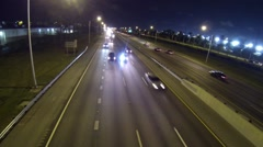 Florida Turnpike highway traffic at night Clip 1 Stock Footage