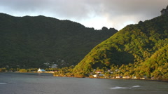 American Samoa forested mountains and town 4k Stock Footage