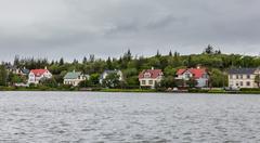Reykjavik colorful houses near pond, Iceland Stock Photos