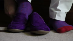 Groom shoes purple shoes (front view) Stock Footage