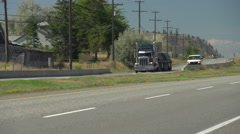 flatbed transport truck follow shot - stock footage