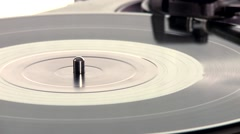 DJ Turntable. Close-up of a spinning vinyl record player Stock Footage