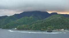 American Samoa sea & cloud on mountain 4k Stock Footage