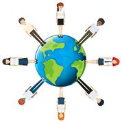 People around the globe - stock illustration
