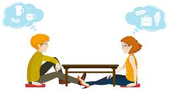 Two people with different thoughts Stock Illustration