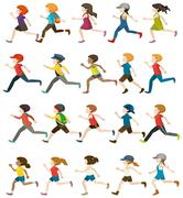 Faceless people running - stock illustration